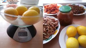 Мёд лимоны курага изюм орехи