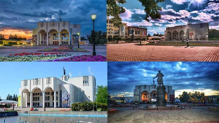 Курский Драматический театр. Театральная площадь. Фонтан.