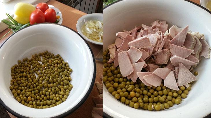 Зелёный горошек со свининой