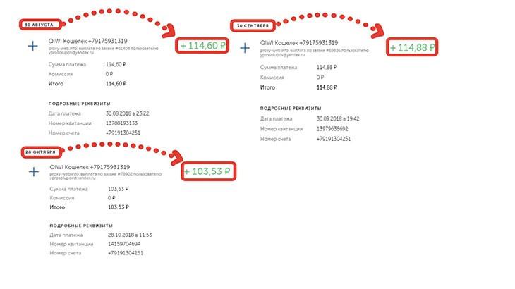 Cкриншоты выплат