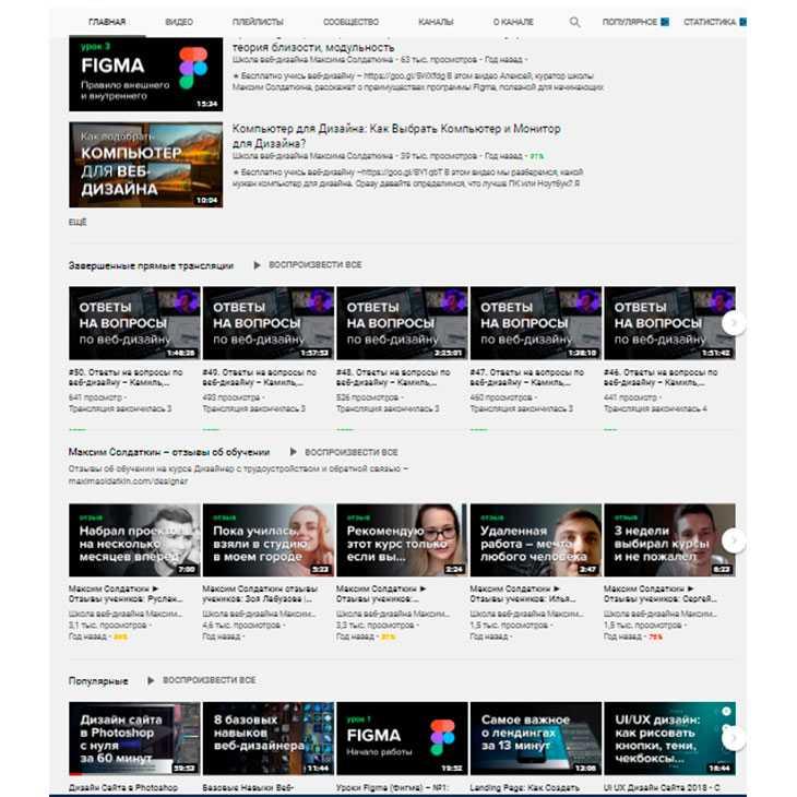Канал youtube с добавленными плейлистами