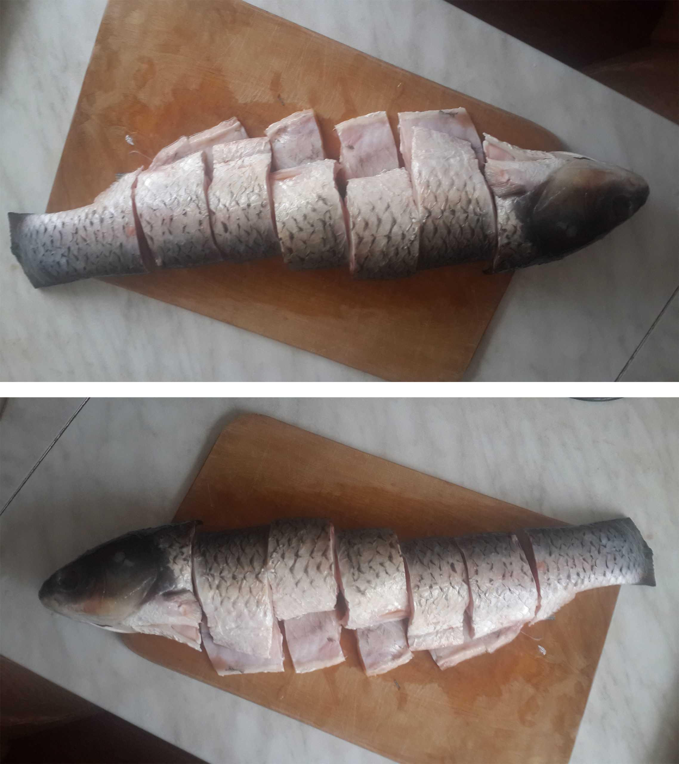 Нарезанная на порции рыба